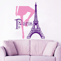 Paris Wall Decal Fashion Girl Legs Love France Wall Art Mural Eiffel Tower Vinyl Stickers Home Murals Bedroom Design Living Room Decor KI129