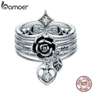 BAMOER New Arrival 100% 925 Sterling Silver Punk Style Heart Crown, Rose Flower Finger Rings for Women Sterling Silver Jewelry