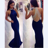 Long Sexy Backless Royal Blue Mermaid Prom Dress 2016 Long Evening Gown Formal Dress Fast  Shipping Robe de Soiree Longue