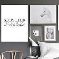 """Motivational Quote Poster """"Strive for Progress, Not Perfection"""" Home Office Dorm Decor"""