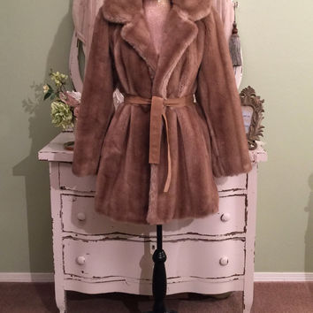 60s 70s Faux Fur Coat, Lilli Ann Coat, Pastel Faux Mink, ML/L, High Fashion Minimalist Coat, Couture Taupe Coat, Quality Faux Designer Coat