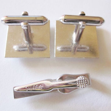 Vintage Swank Silver Tone Square Cuff Link and Tie Clasp Set