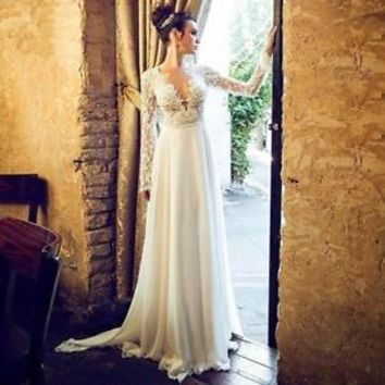 Sheer Back Lace Long Sleeves Wedding Dress Gown Bridal Dress Size 0 2 4 6 8 10