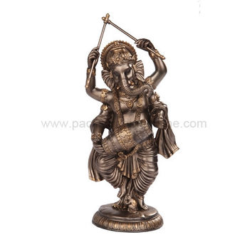 Dancing Ganesha Ganesh Playing Drums Hindu Statue, Bronze Finish 9.25H - T97670