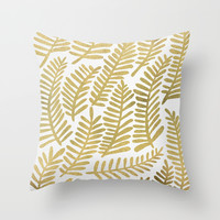 Gold Fronds Throw Pillow by Cat Coquillette