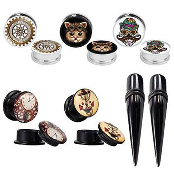 BodyJ4You Gauges Kit Plugs Tapers Ear Stretching Steel Screw Fit Steam Punk 0G Piercing Jewelry Set 12 Pieces