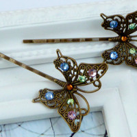 Elegant butterfly hair clips set of 2 in bronze with colorful rhinestones, insect bobbypins, girls hair jewelry, antique hair clips