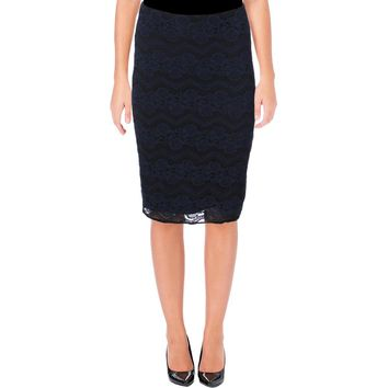 Aqua Womens Lace Zig-Zag Pencil Skirt