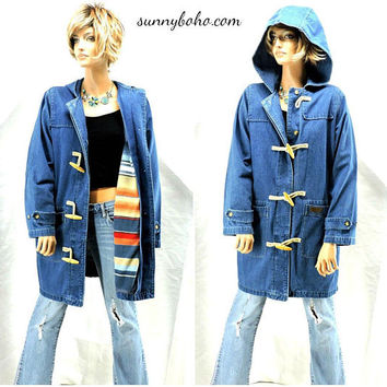 80s denim duster coat / S / M /  hooded jean coat / removable southwestern fleece lining / boho long denim jacket / retro jean jacket