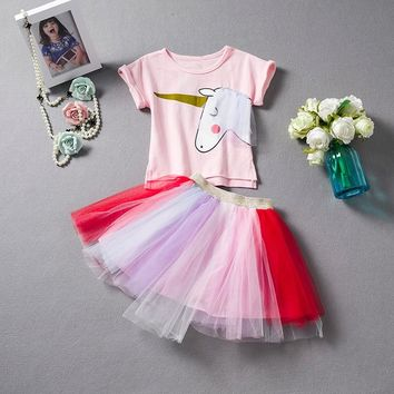 Sweet Pink Princess Girl Unicorn Party Dress Tutu Tulle Costume For Girls Clothes Children Casual Outfits For Little Baby 2-6T