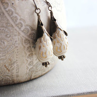 Cream Drop Earrings Antique Gold Cream and Gold by apocketofposies