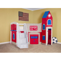 NE Kids School House Junior Loft Bed with Firehouse Tent