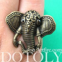 Adjustable Elephant Animal Ring in Bronze with Patterned Detail