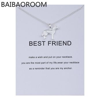 Fashion Jewelry Animal Ornaments Zodiac Best Friend Dog Polished Color Alloy Clavicle Pendant Short Necklace