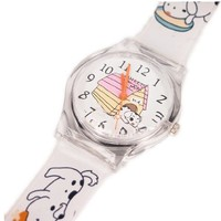 Magicpieces Boy's Girl's Kid's Dog and House Printed Upper Round Shape Quartz White Watch Kids Watch School Children Watch Plastic Upper New Style Water-proof Watch