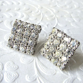 Rhinestone Post Earrings Square Diamond Shape Prom Wedding Formal Pierced Ballroom Pageant 1970s Retro Vintage Costume Jewelry Pierced Posts