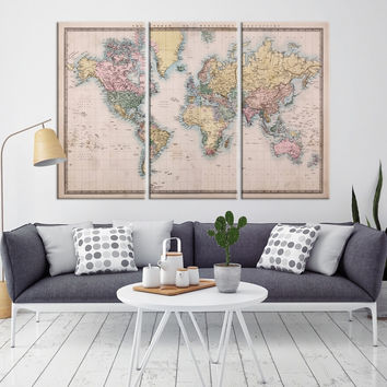 11077 - Large Wall Art Antique World Map Canvas Print- Historic World Map Travel Canvas Print- Modern XXL Large Wall Art World Map Canvas Print
