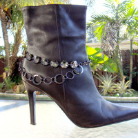 Handmade - BOOT CANDY - Anklet - Bracelet - Bling - Cowgirl - Jewelry - Gunmetal Chain w/ Smokey Crystals