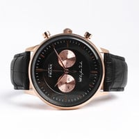 Kingston Black/Rose Leather Watch