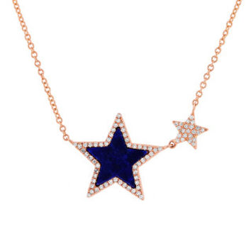 0.18ct Diamond & 0.70ct Lapis 14k Rose Gold Star Necklace