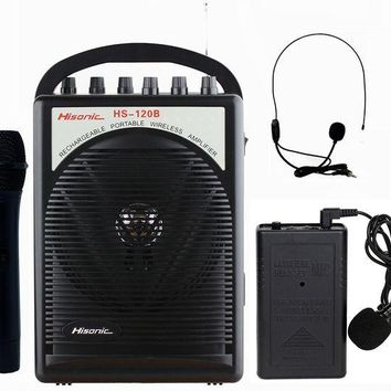 ONETOW Hisonic HS120B Lithium Battery Rechargeable & Portable PA (Public Address) System with Built-in VHF Wireless Microphone, Car Cigarette Lighter Cable, Carrying Bag ,1 Hand Held +1 Body Pack
