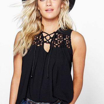 Black Hollow Out Woven Tank Top 11036