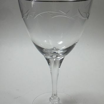 Tiffin Riviera Platinum 4 goblet stem cut glass, Crystal  Made in USA Ohio 1969