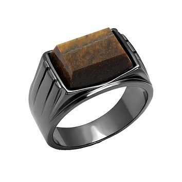 Steel Tiger Eye - Men's Stainless Steel Synthetic Topaz Grey IP Ring