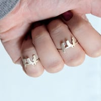 Bird ring - birds on a wire sterling silver - midi ring - unique cute knuckle ring - small delicate ring