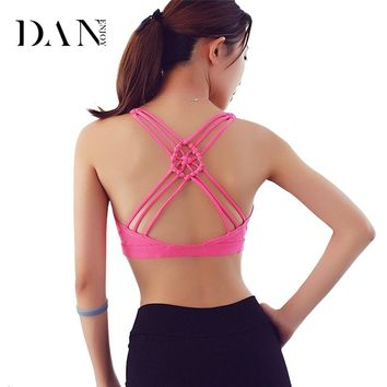 DANENJOY Women Sports Bra Crop Tops Padded Fitness Yoga Bra Push Up Chinese Knot Seamless Black Sexy Cross Athletic Vest Fitness