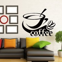 Wall Decals Coffee Cup Decal Vinyl Sticker Kitchen Decor Cafe Interior Window Decals Living Room Art Murals Chu1420