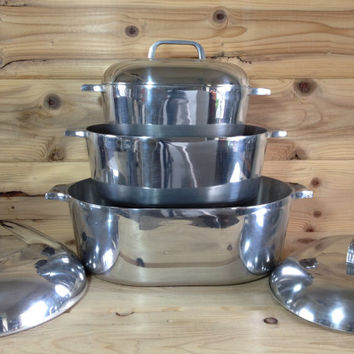 Vintage Wagner Ware Sidney -0- Magnalite 4 Qt. 4 Quart Roasterette Dutch Oven 4263 Cast Aluminum with Lid and Trivet Insert