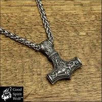 Large Reversible Viking Hammer Mjolnir On Thick Viking Braid Stainless Steel Chain Necklace