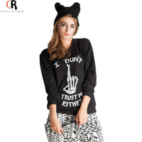 2016 Spring Latest New Women Casual Loose Black I DON'T TRUST ME EITHER Letter And Skeleton Finger Print Skull Sweatshirt