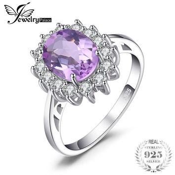 Princess Diana  1.8ct Natural Amethyst Engagement Halo Ring 925 Sterling Silver
