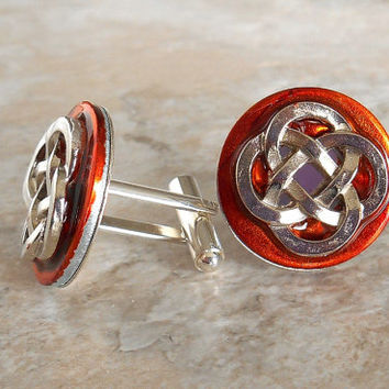 cufflinks: celtic knot - orange - anniversary gift - boyfriend gift - best man gift - celtic cufflink - irish jewelry - mens jewelry