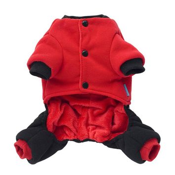 5 Sizes Winter Dog Cat Pet Warm Clothes Apparel Buttons Red Hoodie Dog Down & Parkas Dog Puppy Parkas Clothing Product for Dog