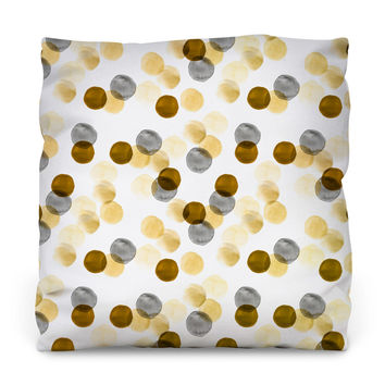Gold Watercolor Dots Throw Pillow
