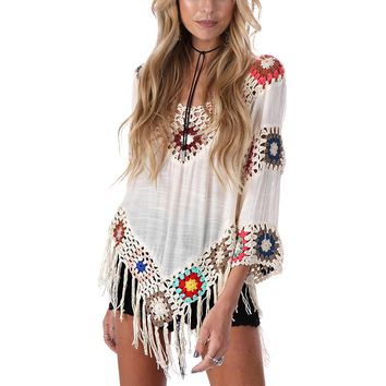 Bohemian Fringed Lace Summer Beach Cover Up