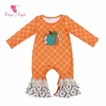 Kaiya Angel Halloween Orange Pumpkin Flower Baby Girl Boy Summer Ruffle Boutique  Clothes Toddler Kids Autumn 4d66b2784