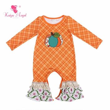 Kaiya Angel Halloween Orange Pumpkin Flower Baby Girl Boy Summer Ruffle Boutique Clothes Toddler Kids Autumn Winter Rompers