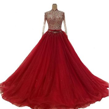 New High-end Evening Dress Luxury The Bride Banquet Red Crystal Beading High-neck Long Sleeved Prom Party Gowns