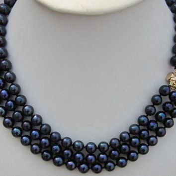 """9-10Mm Black Tahitian Pearl Necklace 16-17-18"""" 3 Rows"""