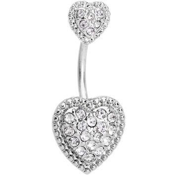 Clear CZ Gem Art Deco Glamour Heart Double Mount Belly Ring