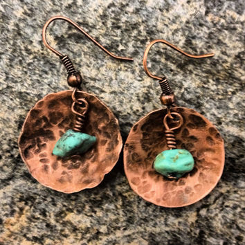 Rustic copper and Arizona Turquoise stamped by DESIGNbyANCE