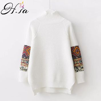 H.SA 2018 Women Vintage Turtleneck Sweater Jumpers Long Sleeve Solid Retro Pullover and Sweaters Irregular Split sueter mujer