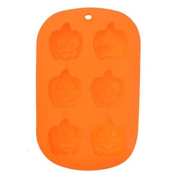 Unique 6-Holes Halloween Pumpkin Shaped Soft Silicone DIY Cupcake Chocolate Jelly Baking Mold Mould Ice Cube Tray (Orange)