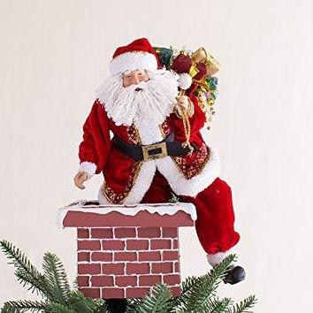 Balsam Hill Jolly Saint Nick Santa on Chimney Tree Topper