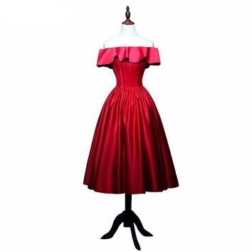 Prom Dresses Tea-Length New Fashion Red Satin With Draped A-line Prom Dress Boat Neck Short Prom Dresses