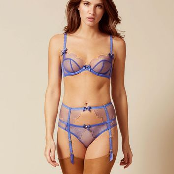 Lorna Suspender Blue And Peach